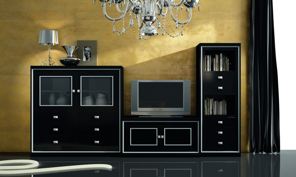 muebles salon negros